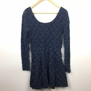 Free People Lace Long Sleeve Fit Flare Dress